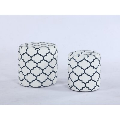 Burrill Pouf (Set of 2) Upholstery: White