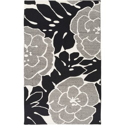 Abigail Hand-Woven Black/Beige Area Rug Rug Size: Rectangle 33 x 53