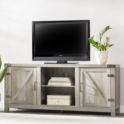 Adalberto 58 TV Stand with Optional Fireplace Color: Gray Wash, Fireplace Included: No