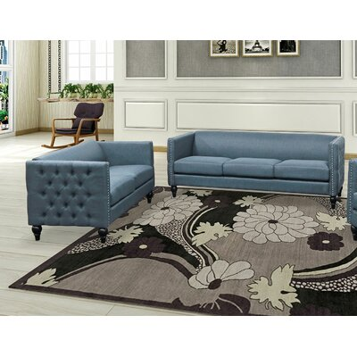 Isenhour 2 Piece Living Room Set Upholstery: Blue