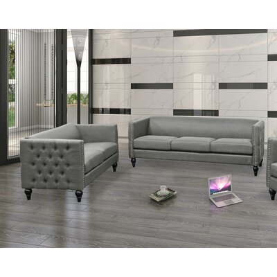 Isenhour 2 Piece Living Room Set Upholstery: Gray