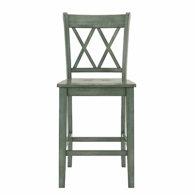 Rabideau Double X-Back 24 Bar Stool Color: Antique Sage