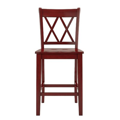 Rabideau Double X-Back 24 Bar Stool Color: Antique Berry