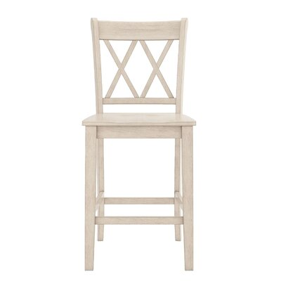Rabideau Double X-Back 24 Bar Stool Color: Antique White