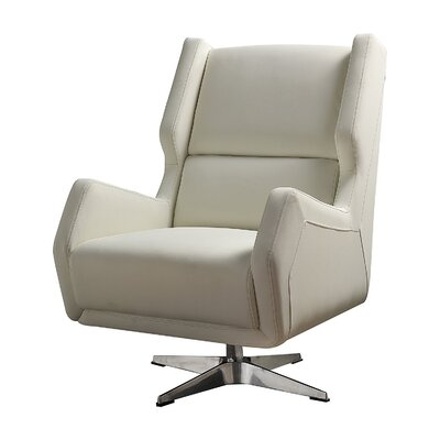 Laffoon Contemporary Swivel Wingback Chair Upholstery: White