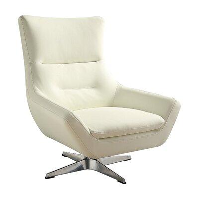 Vivas Contemporary Swivel Armchair Upholstery: White