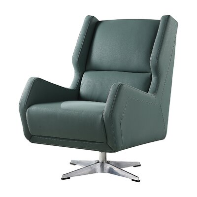 Laffoon Contemporary Swivel Wingback Chair Upholstery: Green