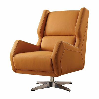 Laffoon Contemporary Swivel Wingback Chair Upholstery: Orange