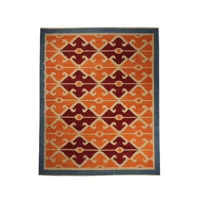 Yother Hand-Woven Wool Rust/Blue Area Rug Rug Size: Rectangle 76 x 96