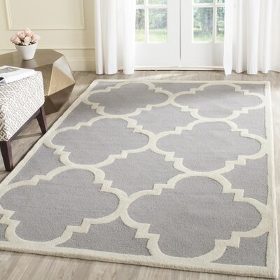 Charlenne Hand-Tufted Wool Silver/Ivory Area Rug Rug Size: Rectangle 4 x 6
