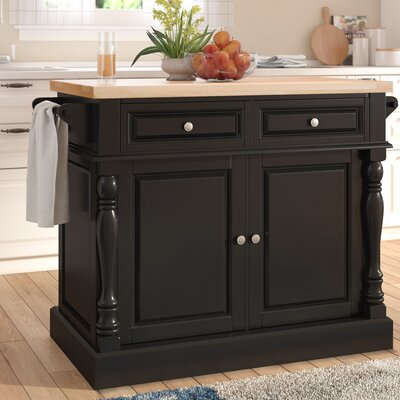 Lewistown Kitchen Island with Butcher Block Top Base Finish: Black