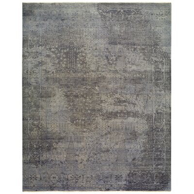 Attell Hand-Knotted Wool Gray Area Rug Rug Size: Rectangle 9 x 12