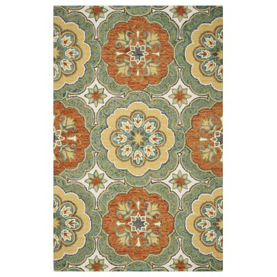 Deol Hand-Tufted Wool Teal Area Rug Rug Size: Rectangle 9 x 12