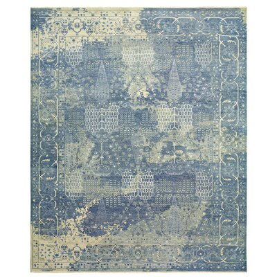 Attell Hand-Knotted Wool Blue Area Rug Rug Size: Rectangle 9 x 12