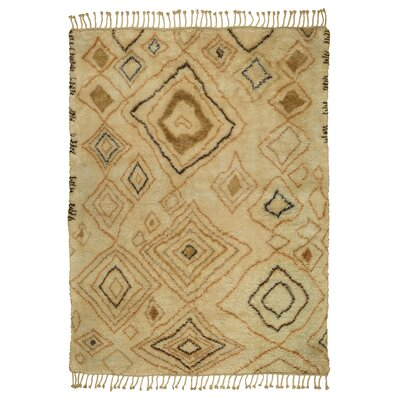 Susannah Abstract Diamond Hand-Knotted Wool Ivory/Gold Area Rug Rug Size: Rectangle 10 x 14