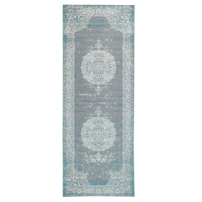 Axelrod Distressed Gray/Turquoise Area Rug Rug Size: Runner 28 x 7