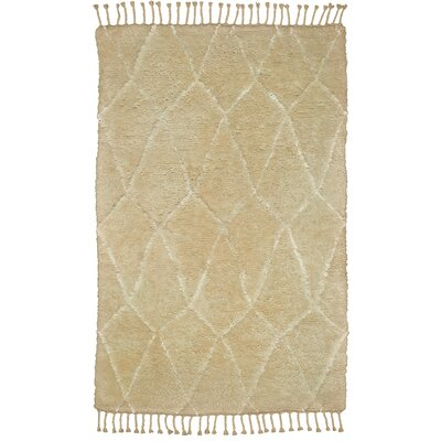 Susannah Diamond Hand-Knotted Wool Ivory Area Rug Rug Size: Rectangle 56 x 86