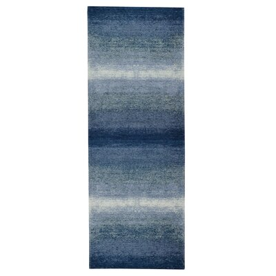 Axelrod Abstract Ombre Blue Area Rug Rug Size: Runner 28 x 7