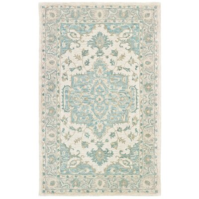 Adelbert Hand-Tufted Turquoise/Gray Area Rug Rug Size: Rectangle 8 x 10