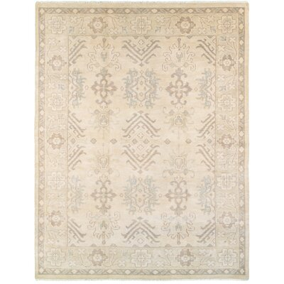 Mcmanis Hand-Knotted Wool Beige/Silver Area Rug Rug Size: Rectangle 9 x 12