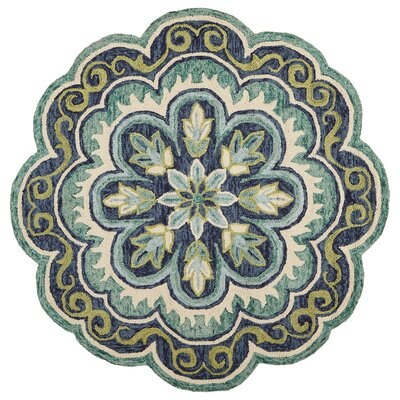 Rackley Fantastic Floret Hand-Tufted Wool Green Area Rug Rug Size: Round 4