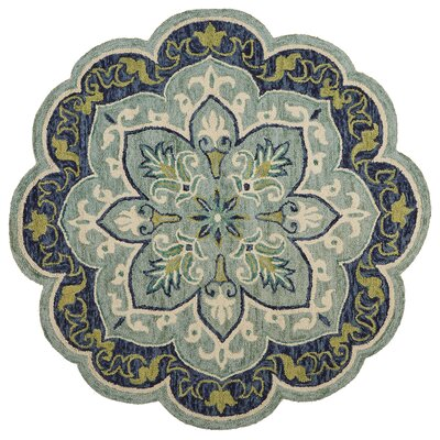 Rackley Hand-Tufted Wool Teal Area Rug Rug Size: Round 4