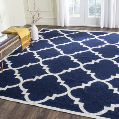Dhurries Hand-Woven Wool Navy/Ivory Area Rug Rug Size: Rectangle 3 x 5
