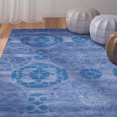 Kouerga Handmade Wool Blue Area Rug Rug Size: Rectangle 5 x 8