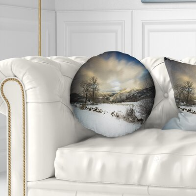 Snow Storm in Spain Landscape Photography Throw Pillow Size: 16 x 16