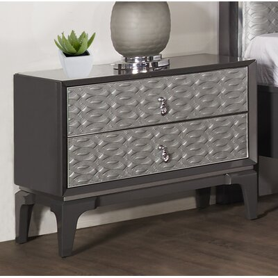 Amelio 2 Drawer Nightstand Color: Gray