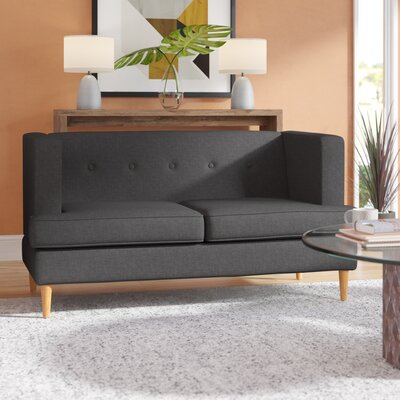 Ariade Fabric Loveseat Upholstery: Dark Grey
