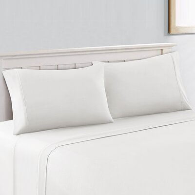 Saxton Brushed 300 Thread Count 100% Cotton Sheet Set Size: Queen, Color: Arctic White