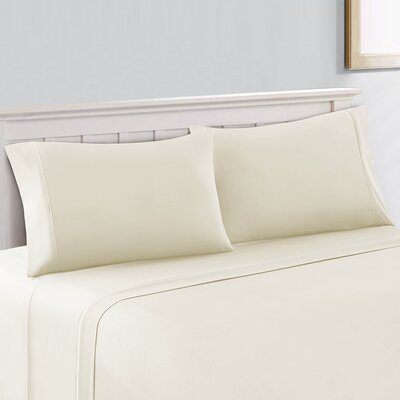 Saxton Brushed 300 Thread Count 100% Cotton Sheet Set Size: King, Color: Fresh Ivory