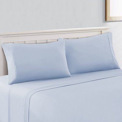Saxton Brushed 300 Thread Count 100% Cotton Sheet Set Size: Full/Double, Color: Aqua