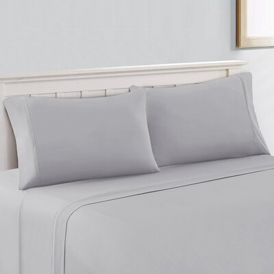 Savoy Cool & Crisp Solid 100% Cotton Sheet Set Size: King, Color: Light Gray
