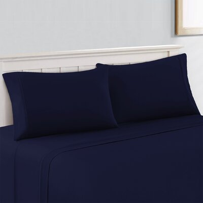 Savoy Cool & Crisp Solid 100% Cotton Sheet Set Size: Full/Double, Color: Navy