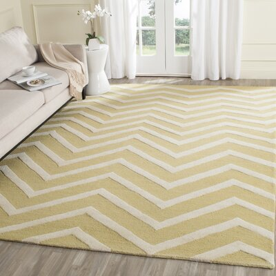 Charlenne Hand-Tufted Wool Light Gold/Ivory Area Rug Rug Size: Rectangle 5 x 8