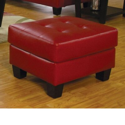 Priolo Lavish Leather Ottoman Upholstry: Red