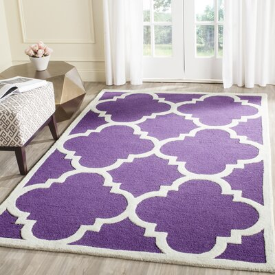 Charlenne Wool Purple/Ivory Area Rug Rug Size: Rectangle 3 x 5