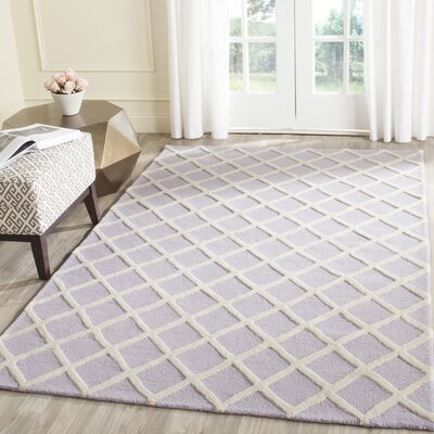 Martins Hand-Tufted Wool Lavender/Ivory Area Rug Rug Size: Rectangle 6 x 9