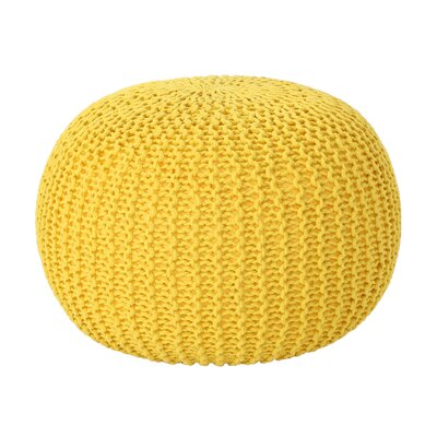 Mabery Knitted Pouf Upholstery: Yellow