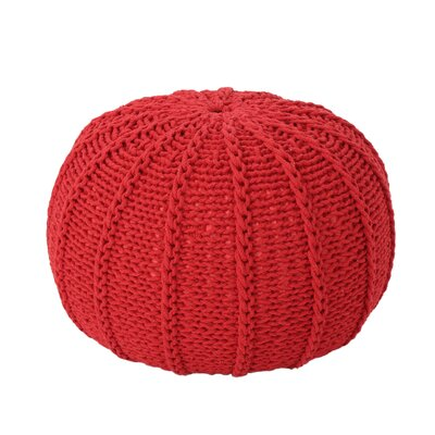 Maag Knitted Pouf Upholstery: Red