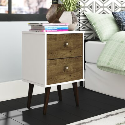 Lewis Mid Century Modern 2 Drawer Nightstand Color: White/Rustic Brown