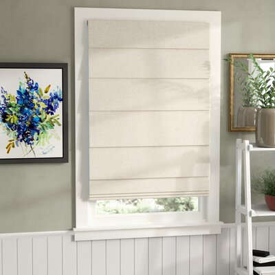 Room Darkening Linen Colored Roman Shade Blind Size: 35 W x 64 L, Color: Linen