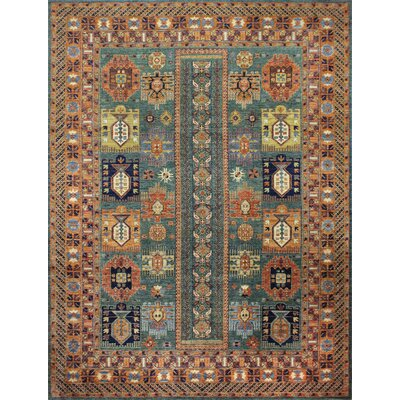 One-of-a-Kind Miliano Hand-Knotted Wool Green Area Rug