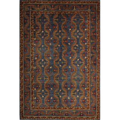 One-of-a-Kind Mcmahan Hand-Knotted Wool Blue Area Rug