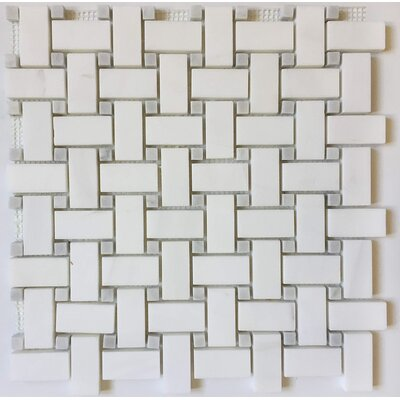 Basket Weave 1 x 2 Marble Mosaic Tile in Bianco Dolomite