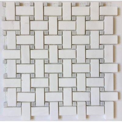 Basket Weave 1 x 2 Marble Mosaic Tile in Bianco Dolomite