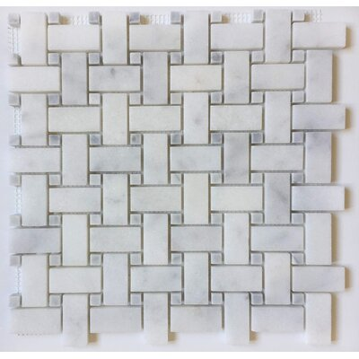 1 x 2 Marble Mosaic Tile in Bianco Venantino