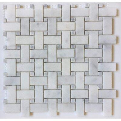 1 x 2 Marble Mosaic Tile in Bianco Venantino